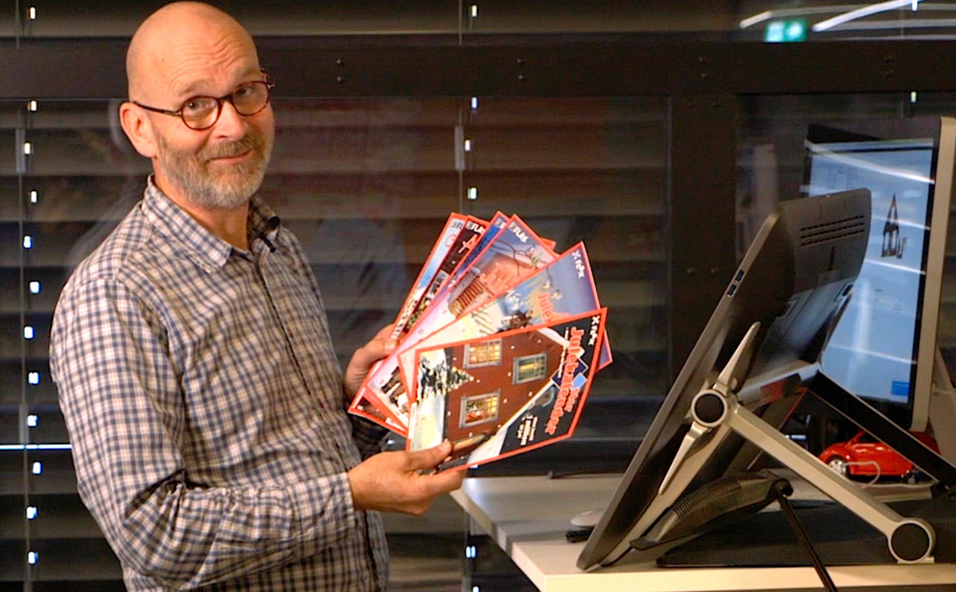 Henning Kristoffersen er grafisk designer og er den som tegner Flax-kalenderen.